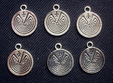 6 Labrynth Man in Maze Charms Pagan Wicca Silver Tone 22mm