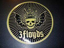 THREE FLOYDS BREWING Logo GOLD SKULL CIRCLE STICKER decal craft beer brewery