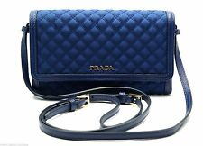 Prada Cross Body Bag Messenger Clutch Wallet Quilted Nylon Blue New