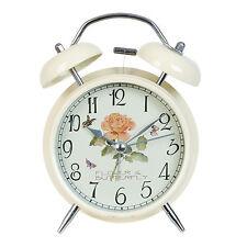 Nostalgie Glockenwecker Wecker Uhr Landhausstil Metall Beige Retro Stil Look NEU