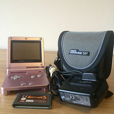 Pink Game Boy Advance SP Console Bundle - Includes Game, Official Case & Charger