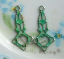 #1006Y Vintage brass Connectors Patina Green Blue Filigree loops Painted Rare