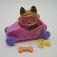 Littlest Pet Shop dog lot #112 German shepherd purple eyes  accessories Car more