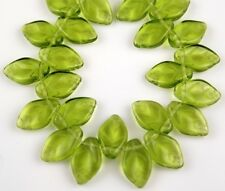 25 PCS Czech Leaf Olive Green Pressed Loose Glass Beads Jewelry Craft 7x12mm