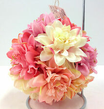 "Silk Dahlia Flower Kissing Ball w/Hanger. Cream, Pink, Blush. 7"" Round"