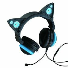 NEXT DAY DELIVERY NEW Axent Wear - Cat Ear Headphones with Speakers Blue
