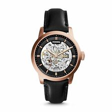 "Fossil ME3084 ""Townsman"" Mechanical Black-Leather Skeleton Watch"