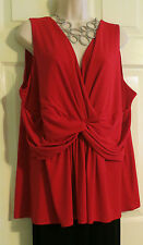 NEW Gorgeous Slinky Flowy Knotted Front Red Top Lane Bryant Plus 18/20 (1X/2X)