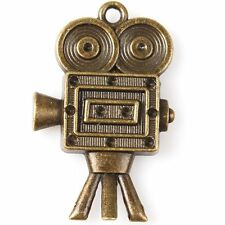 7pcs 144819 Hotsale Bronze Tone Robot Playing Camera Charms Alloy Pendants