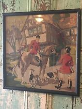 Vintage English Fox Hunt Completed Needlepoint Picture Dogs Horses