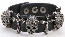 Skull &Cross Black Leather Cuff Bracelet Crystal Rhinestone Halloween BL01
