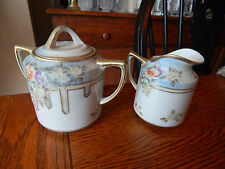 Vintage Hand Painted Nippon Moriage Sugar & Creamer w/ Raised Gold Gilt