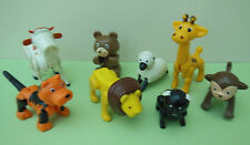 Lot of 8 Vintage Plastic Zoo & Farm Animals Made in Hong Kong
