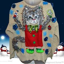 Hissterical! The MOTHER of All UGLY CHRISTMAS CAT Sweaters, Elf Cat, L