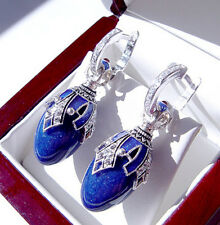 SALE !  SUPERB RUSSIAN GENUINE LAPIS STERLING SILVER 925  EARRINGS w/ ENAMEL