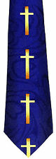 Cross of Gold Mens Necktie Religious Neck Tie Jesus Christian Blue Gift New