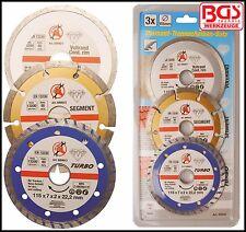BGS - Diamond Tipped Cutting Wheel Set - 115 x 7 x 20 mm Dry, Wet & Turbo. 50840