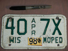 1998 98 WISCONSIN MOPED LICENSE PLATE # 40 7X