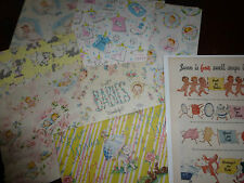 Sweet Lot of Vintage Mid Century Baby Gift Wrap Paper Dolls Ephemera Nursery