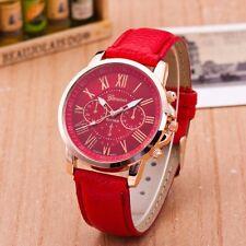 WHOLESALE 10pcs New Fashion Geneva Leather Strap Quartz Analog Wristwatches