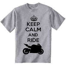 BMW s1000 RR Keep Calm and Ride-NUOVO Amazing Graphic T-Shirt Grigio S-M-L-XL - XXL