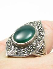 Vintage Sterling Silver Marcasite Chrysoprase Cabochon Ring Size 8