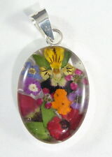925 sterling silver small oval pendant with real flowers