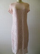 SCARLETT ROSE PINK FLORAL PRINT SHORT SLEEVE LACE DRESS SIZE 16 - NEW