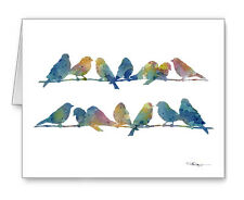 Blue Finches Note Cards With Envelopes