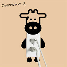 Waterproof Switch Wall Sticker Black Cute Cow Decal Home Room Decorate