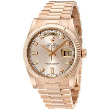 Rolex Day-Date Pink Dial 18K Everose Gold President Automatic Ladies Watch