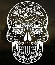 "6"" Sugar Skull Day of The Dead Die-Cut Vinyl Floral Decal Sticker Choose Color"