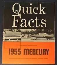 1955 Mercury Quick Facts Brochure Montclair Monterey Custom Excellent Original