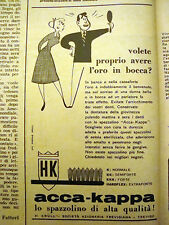 PUBBLICITA' ADVERTISING 1955 SPAZZOLINO DA DENTI ACCA-KAPPA (E254)