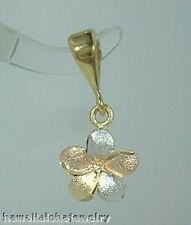 9mm Hawaiian Tri-Color 14k Gold DC Matted Plumeria Flower Pendant
