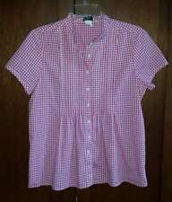 J. CREW Women's S Pink Gingham Short-Sleeve Pleated Shirt Top