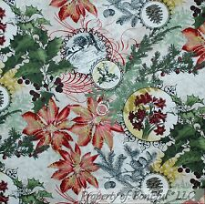 BonEful Fabric Cotton Quilt Green Red Gold Xmas Holly Berry Flower Scenic SCRAP