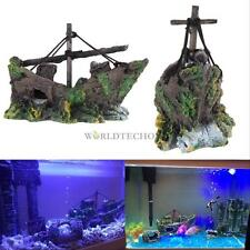 New Fish Tank Decoration Cave Decor Sailing Boat Shipwreck Aquarium Sunk Ship #W