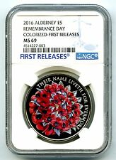 2016 ALDERNEY £5 5PND GREAT BRITAIN REMEMBRANCE  POPPY NGC MS69 FIRST RELEASES !