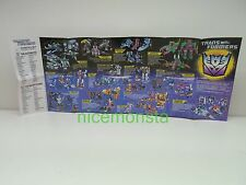 Transformers G1 Hasbro 1987 Action figure Poster Catalog Parts Targetmasters