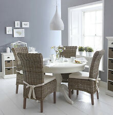 SHABBY CHIC White round dining table a wicker chairs set