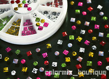 Square Round Rivets Nail Art Decoration Colourflul Metal Studs Rhinestone Gems