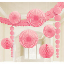 9 x Pale Pink Hanging Paper Party Decorations Fans Honeycombs garland Wedding ?