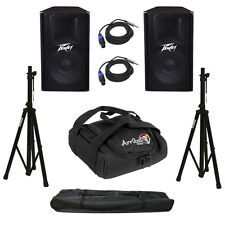"(2) Peavey Pv115 Pro Audio 15"" 2 Way Passive 400W Speakers Stands & Cables New"