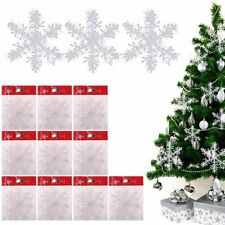 30pcs Snowflake White Ornaments Christmas Tree Decorations Festival Decor 11cm
