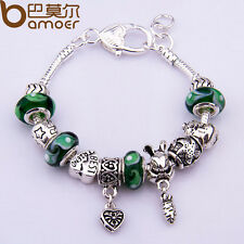 Women European Silver Charms Bracelets Heart Buckle With Beads Christmas Luxury