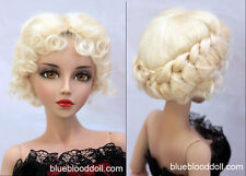 "1/4 1/3 bjd 7-8"" doll head blonde real mohair vintage wig dollfie iplehouse"