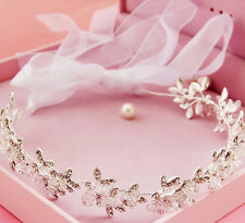 Wedding Bridal Crystal Rhinestone Crown Headband Ribbon Tiara Hair Accessories