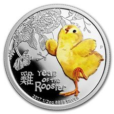 2017 ~ YEAR of the BABY ROOSTER ~ 1/2~OZ. ~ SILVER PROOF ~ COLORIZED GEM~ $62.88