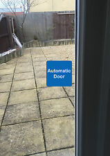 2x AUTOMATIC DOOR sign sticker white and blue vinyl square 75mmx75mm small
